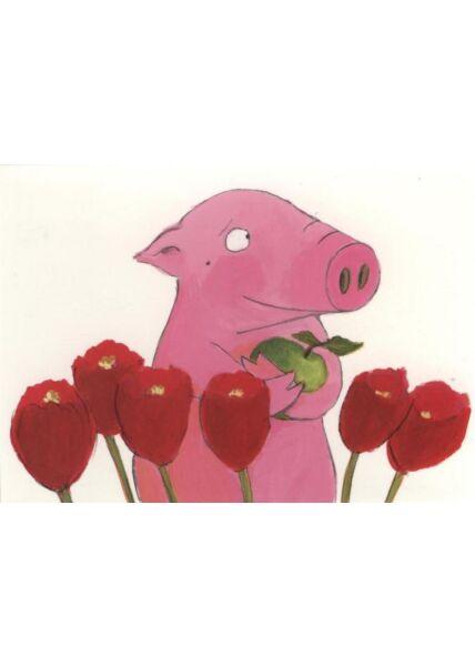 Witzige Postkarte: Tulpen