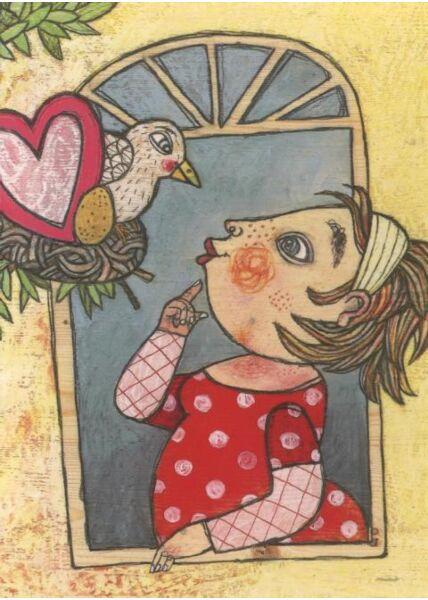 Witzige Postkarte: Vogel am Fenster