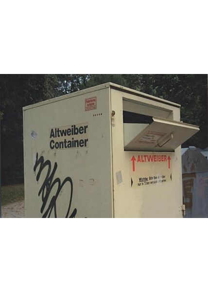 Witzige Postkarte: Altweiber Container