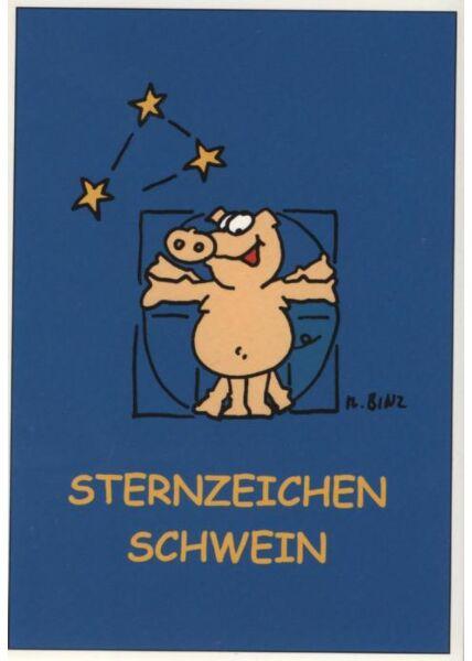 Lustige Postkarte: Sternzeichen Schwein