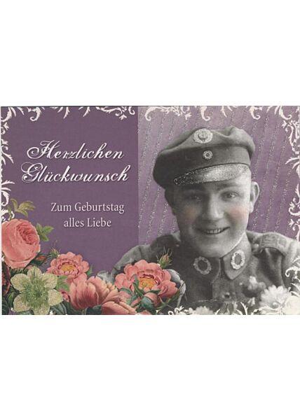Retro Postkarte: Herzlichen Glückwunsch, lila