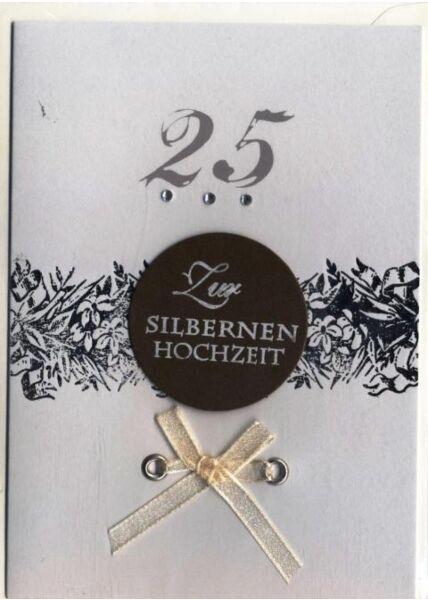 Klassische Doppelkarte: Zur silbernen Hochzeit
