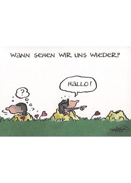 Jan Vis Cartoon Postkarte: Wann sehen wir uns wieder?