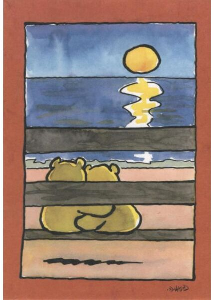 Jan Vis Cartoon Postkarte: Sonnenuntergang