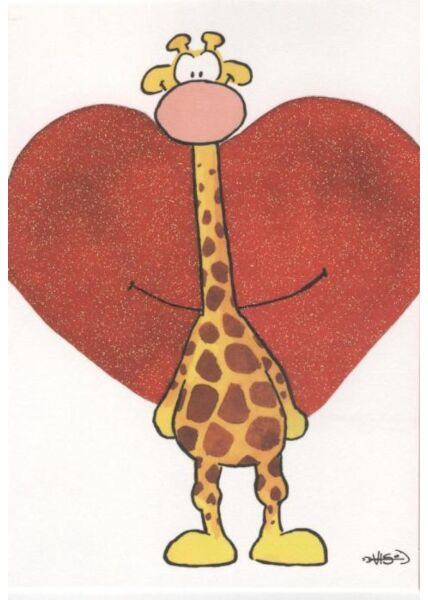 Jan Vis Cartoon Postkarte: Großes Herz