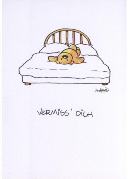 Jan Vis Cartoon Postkarte: Vermiss Dich