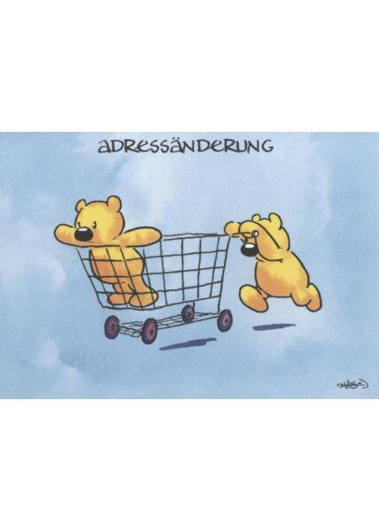 Jan Vis Cartoon Postkarte: Adressänderung