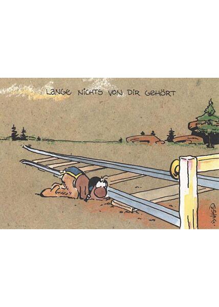 Jan Vis Cartoon Postkarte: Lange nichts von dir gehört