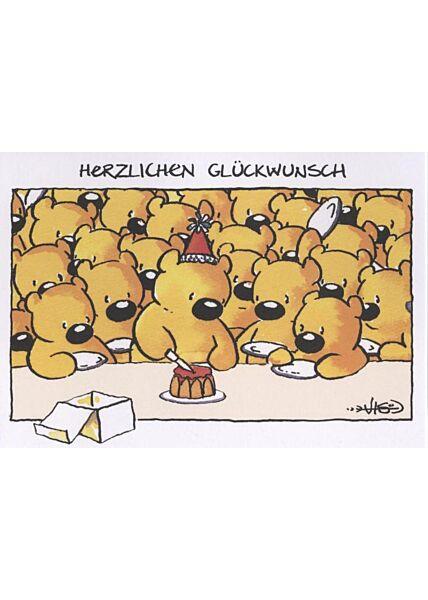 Jan Vis Cartoon Postkarte: Herzlichen Glückwunsch
