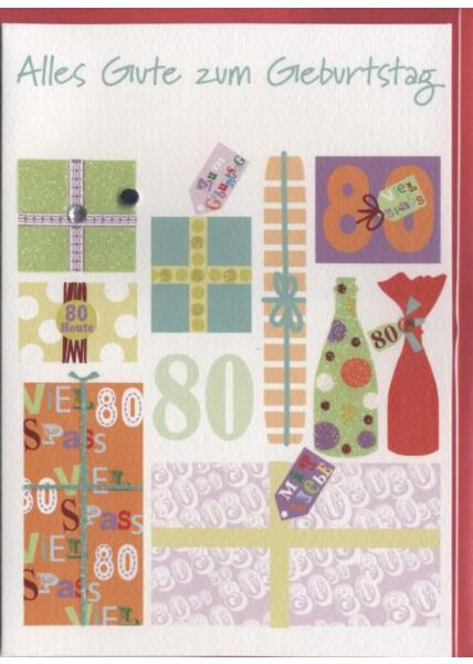Geburtstagskarte 80. Geburtstag: Alles Gute zum 80 Geburtstag