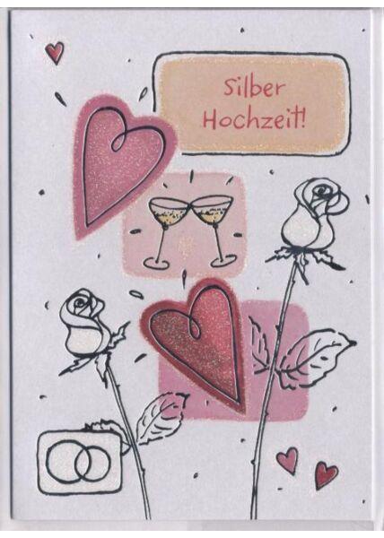 Hochzeitskarte: Silberhochzeit. Alles Liebe und Gute Euch beiden!