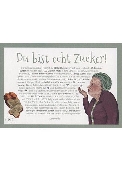 Rezept-Postkarte mit Illustration: Du bist echt Zucker