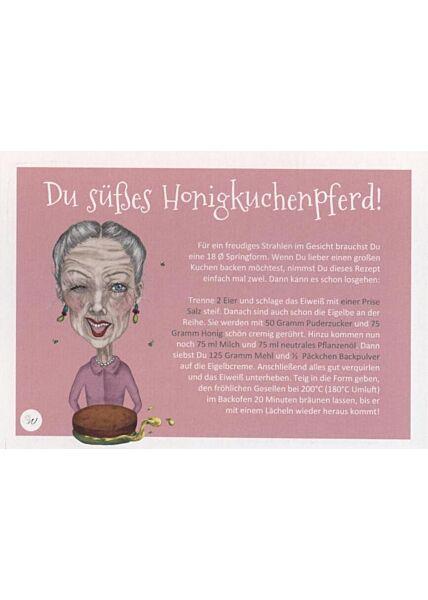 Rezept-Postkarte mit Illustration: Du süßes Honigkuchenpferd