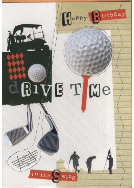 Hochwertige Maxi Geburtstagskarte Golfer Männer: Happy Birthday