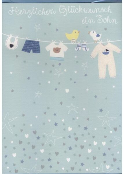 Hochwertige A4 XL Maxi Glückwunschkarte Geburt Baby: Ein Sohn