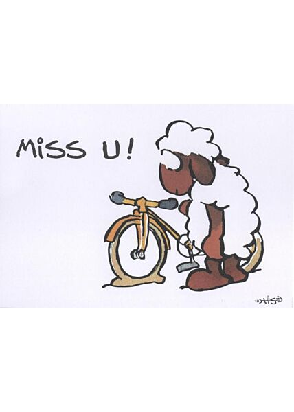 Jan Vis Cartoon Postkarte: Miss U! Schaf