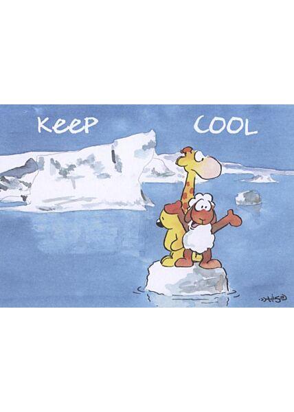 Jan Vis Cartoon Postkarte: Keep cool
