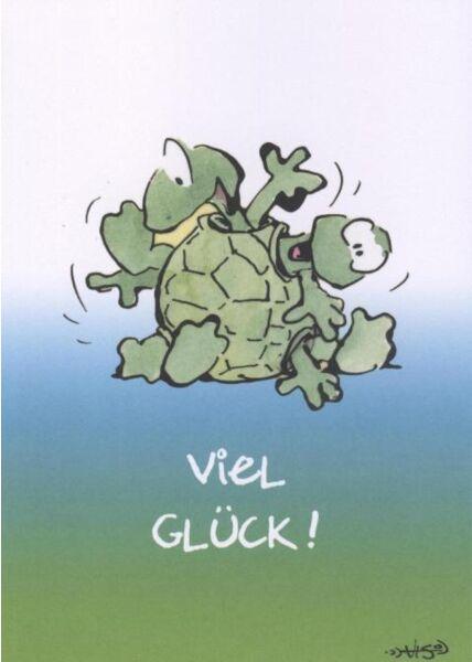 Jan Vis Cartoon Postkarte: Viel Glück! Schildkröte