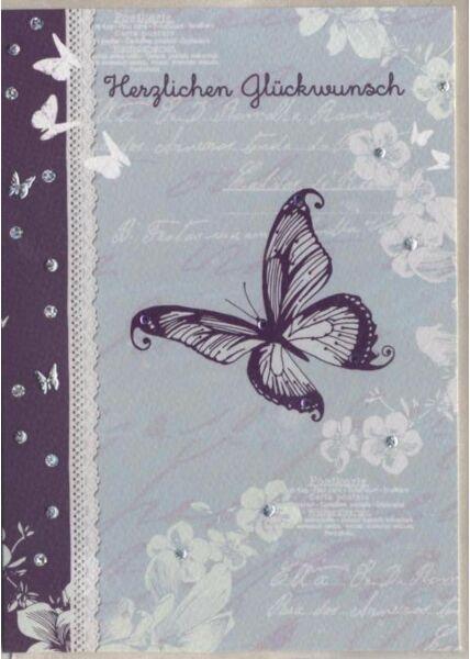 Glückwunschkarte premium: Herzlichen Glückwunsch! Schmetterling