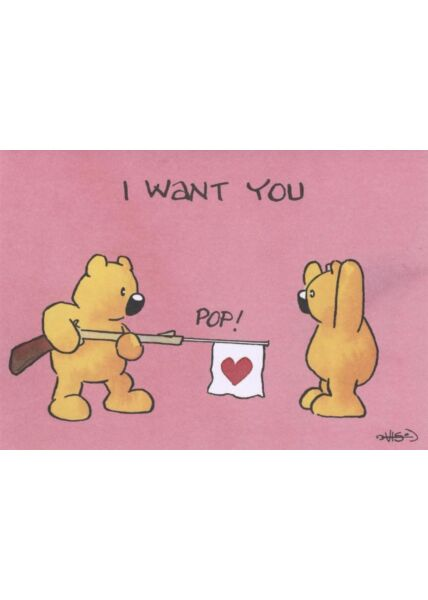 Jan Vis Cartoon Postkarte: I want you