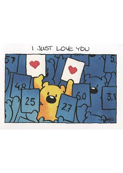 Jan Vis Cartoon Postkarte Liebe: I Just Love You