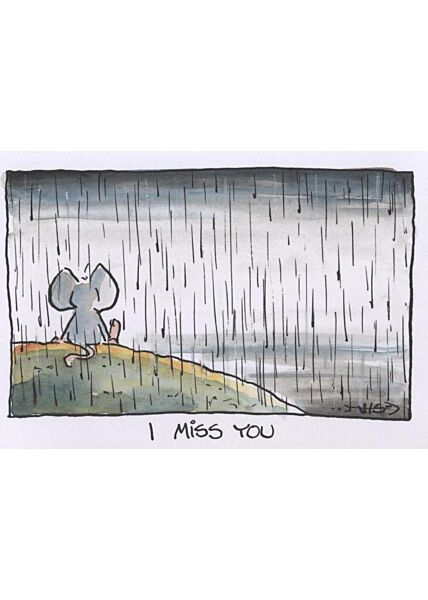Jan Vis Cartoon Postkarte Liebe: I miss you