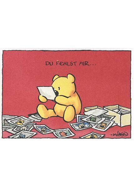 Jan Vis Cartoon Postkarte Liebeskummer: Du fehlst hier