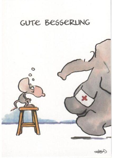 Jan Vis Cartoon Postkarte: Gute Besserung