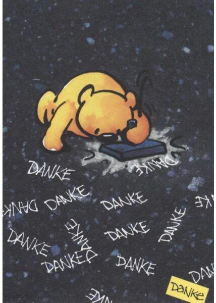 Jan Vis Cartoon Postkarte: Danke - schwarz