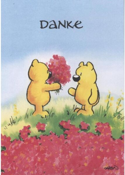 Jan Vis Cartoon Postkarte: Danke - Blumenstrauß