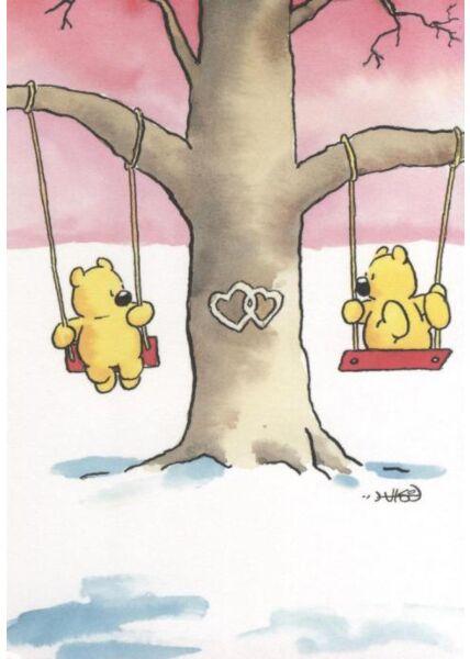 Jan Vis Cartoon Postkarte Liebe: Schaukeln