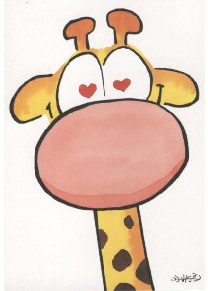 Jan Vis Cartoon Postkarte Liebe: Herzen in Augen