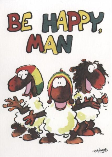 Jan Vis Cartoon Postkarte: Be Happy Man