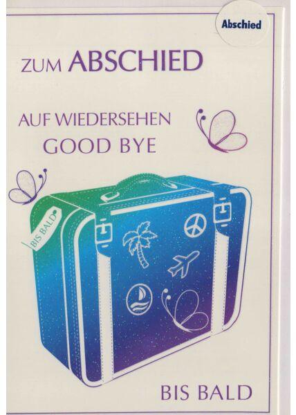Abschiedskarte für Kollegen: Koffer. Good Bye