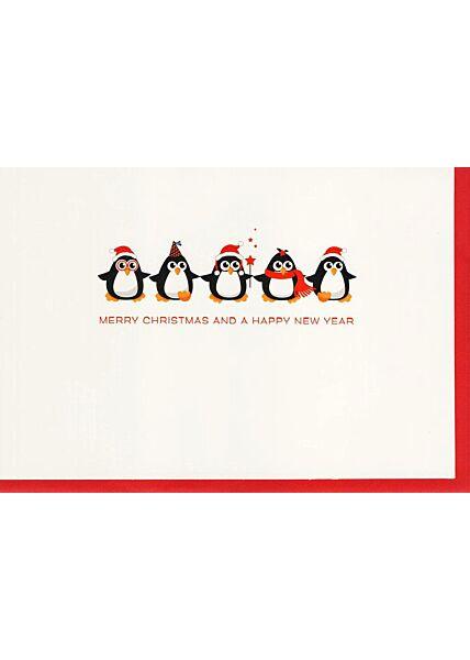 Weihnachtskarte fünf Pinguine