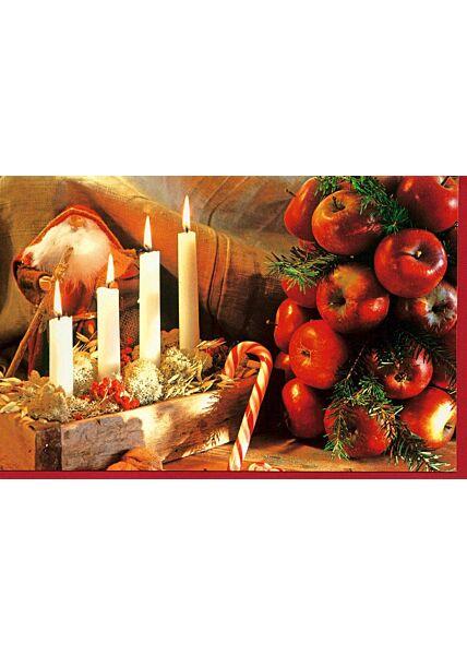 Weihnachtskarte Kerzen Äpfel ohne Text