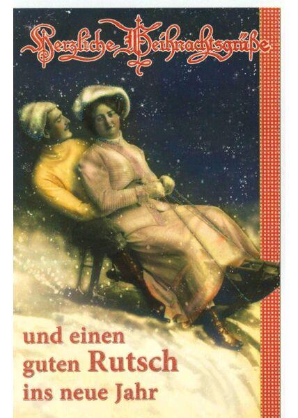 Vintage Weihnachtskarte Schlitten Motiv retro