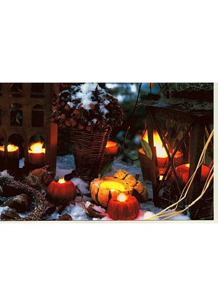 Weihnachtskarte klassich Motiv Kerzen Schnee Garten
