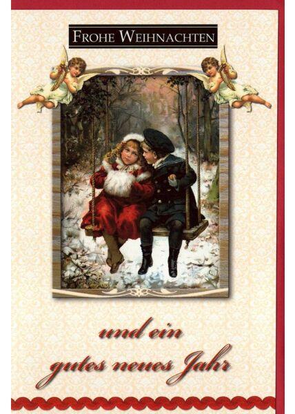 Retro Weihnachtskarte Kinder Schaukel