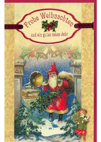 Weihnachtskarte vintage Weihnachtsmann mit Sack