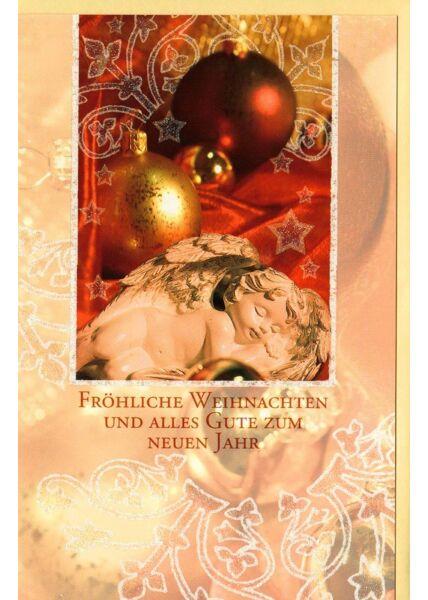Klassische Weihnachtskarte gold Weihnachtskugel