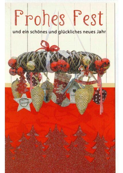 Weihnachtskarte Glizer veredelt Frohes Fest