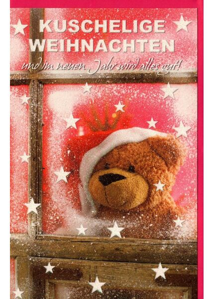 Weihnachtskarte Glitzer Teddy Sterne Fenster
