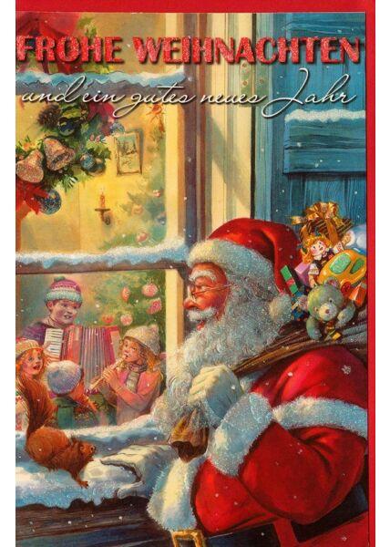 Vintage Weihnachtskarte nostalgisch Weihnachtsmann Fenster