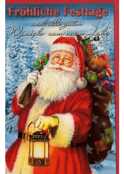 Weihnachtskarte Nokolaus Sack Geschenke retro