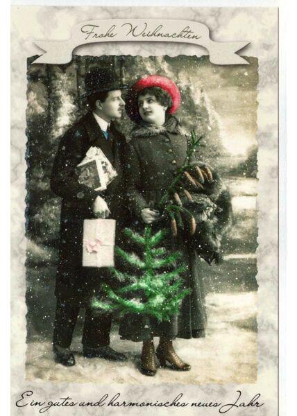 Retro Weihnachtskarte vintage Motiv Paar Weihnachtsbaum