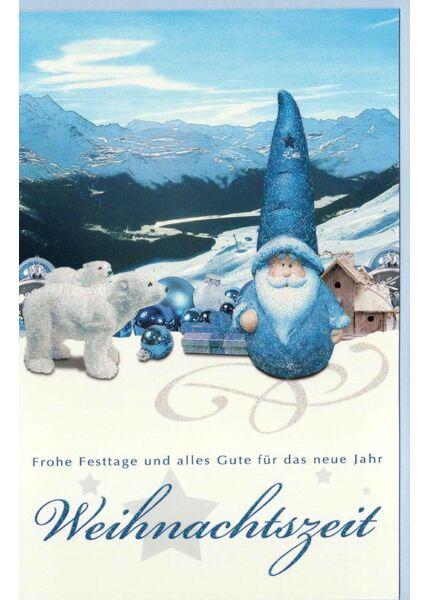 Karte Weihnachten Weihnachtsmann blau Landschaft