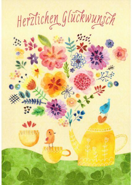 Postkarte Herzlichen Glückwunsch Illustration Blumen Vogel