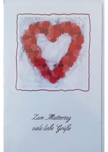"""Muttertagskarte mit Herz: """"Zum Muttertag viele liebe Grüße"""""""