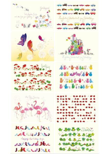 Postkarten Set verschiedene Geburtstag Danke Naturpapier Premiumqualität